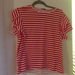 Red and white striped tee shirt